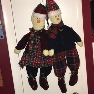 SNOW-GIRL & SNOW-BOY HANGING DECORATION (Vintage)